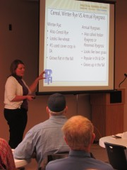Sarah Carlson of Practical Farmers of Iowa addressed the use and benefits of adding cover crops to a no-till system.