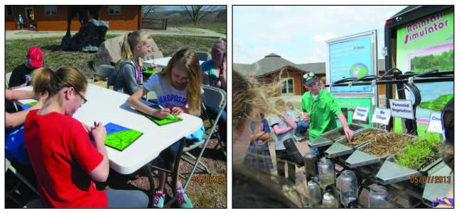 (Left) Here students are given a piece of land and are asked to develop it how ever they would like. Later they learn how their decisions may alter the water quality around them. (Right)  The Conservation Station Rainfall Simulator.