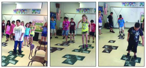 "Here students play a modified version of hopscotch called ""Habitat Hopscotch"". The squares represent the flyways that migrating birds take every year. Each round sees a different state disappear representing the loss of the wetland habitat within that state. The students quickly learned how challenging the migration can be with the loss of each habitat. Not all ""birds"" made the trip."