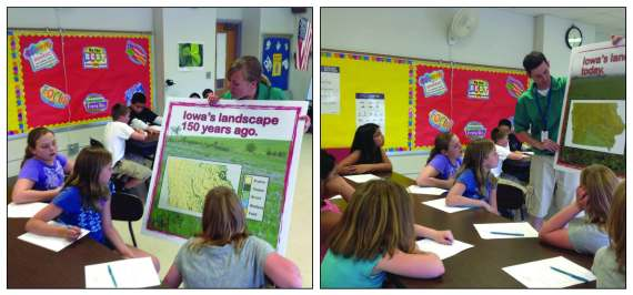 Students learn how the landscapes in Iowa have changed over the last 150 years.
