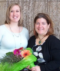 Iowa Learning Farms program manager Jacqueline Comito, right, with Ann Staudt, who nominated Comito for the award