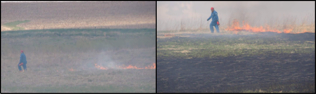 The start of the burn (left), and the middle of the burn (right)