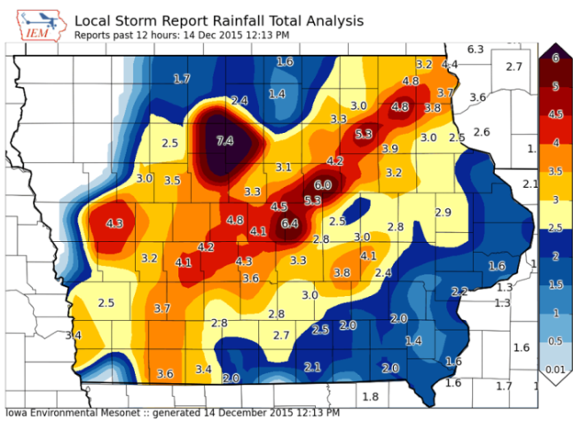 Rainfall totals over the weekend.