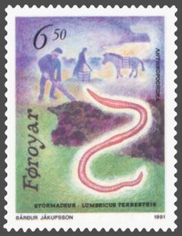 The Faroe Islands honored the common earthworm, Lumbricus terrestris, on its postage stamp!