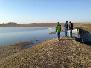 Spring 2013: CREP wetland near Roland, IA after recent construction (within 2 years)